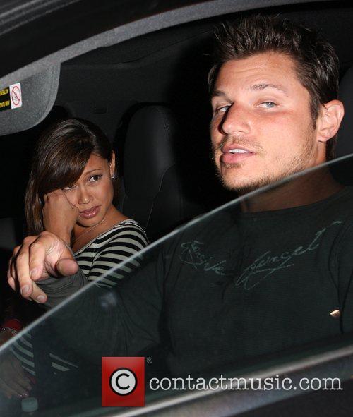 Leaving Katsuya Restaurant with his girlfriend Venessa Minnillo