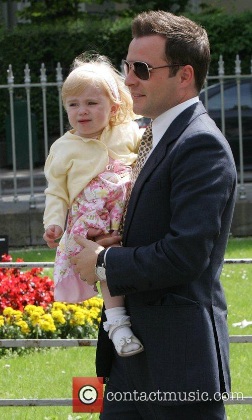 Shane Filan and daughter Nicole at the christening...