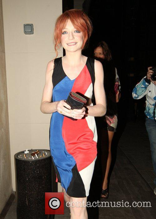 Nicola Roberts of Girls Aloud leaving Nobu Berekely...