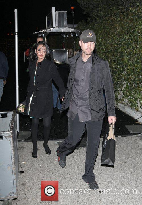 Leaving the opening party for Nicole Richie's clothing...