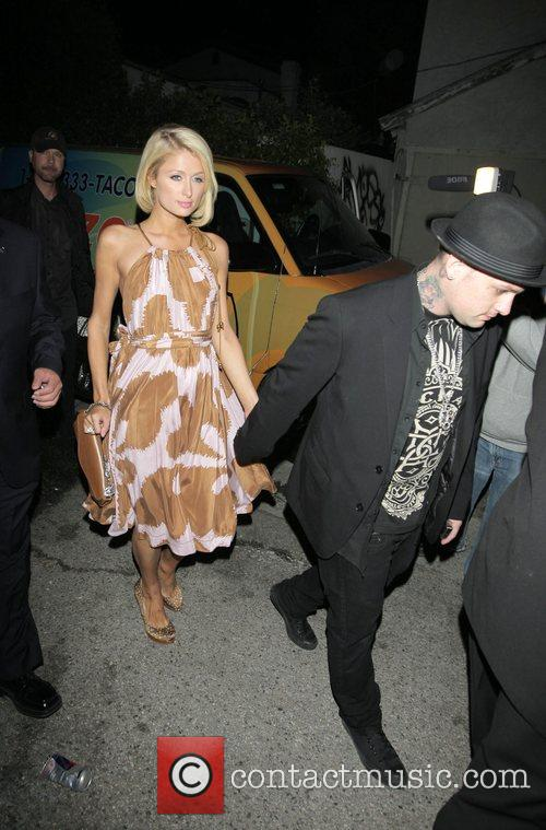 Paris Hilton and Benji Madden leaving the opening...