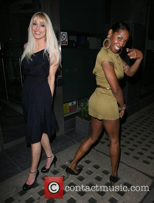 Emma Noble and Sonique leaving Nobu restaurant