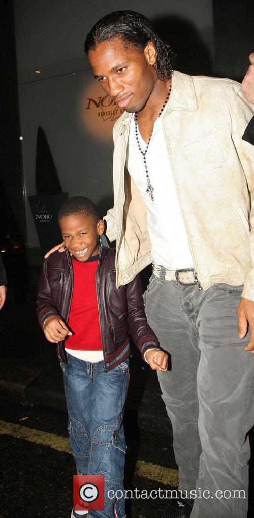 Didier Drogba leaving Nobu Berkley Square after having...