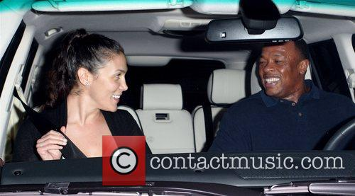 Dr Dre and His Wife Nichole Threatt Leaving Nobu At Cross Creek 8