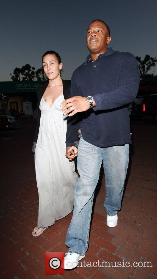 Dr Dre and His Wife Nichole Threatt Leaving Nobu At Cross Creek 2
