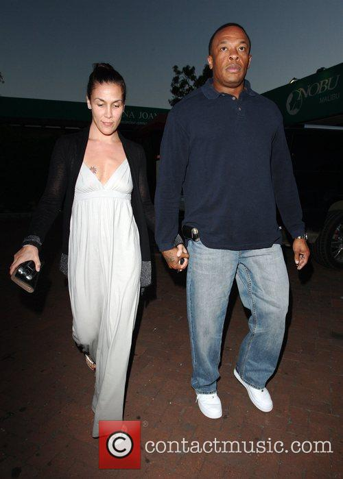 Dr Dre and His Wife Nichole Threatt Leaving Nobu At Cross Creek 4