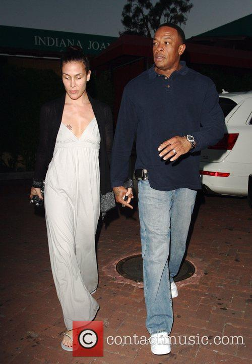 Dr Dre and His Wife Nichole Threatt Leaving Nobu At Cross Creek 5