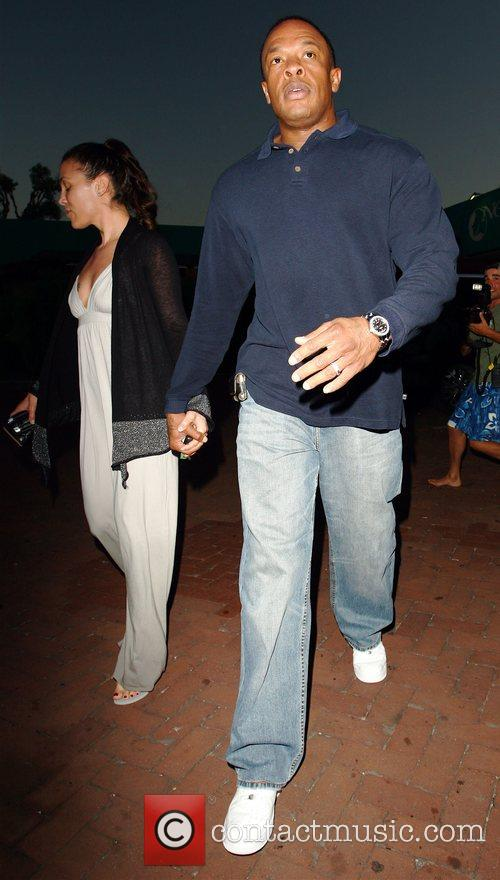 Dr Dre and His Wife Nichole Threatt Leaving Nobu At Cross Creek 6