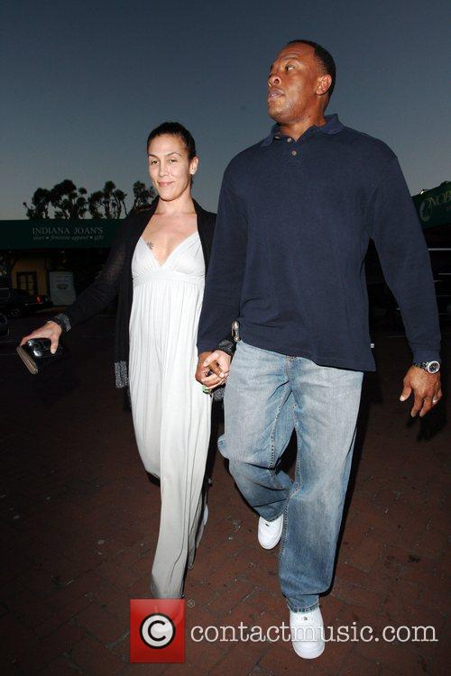 Dr Dre and His Wife Nichole Threatt Leaving Nobu At Cross Creek 3