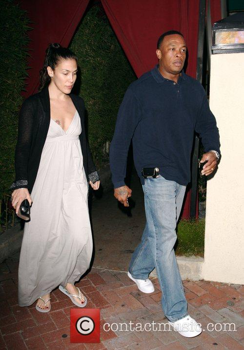Dr Dre and His Wife Nichole Threatt Leaving Nobu At Cross Creek 7