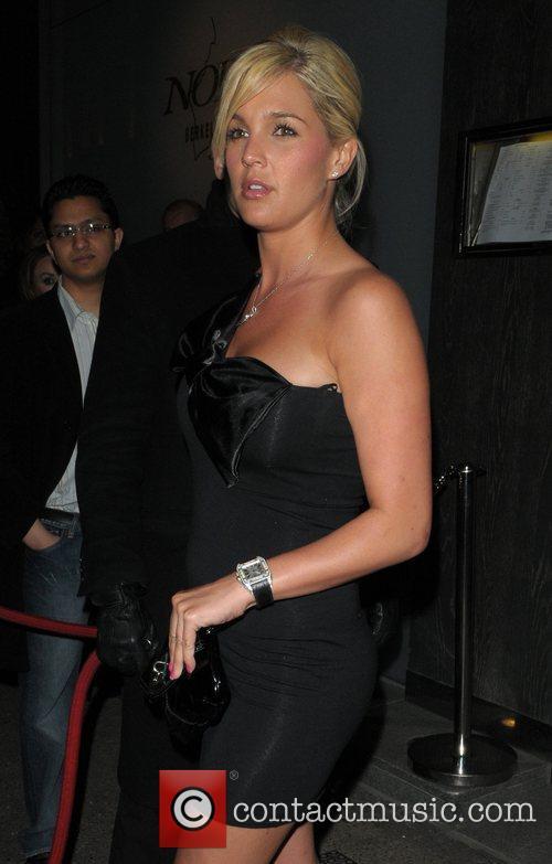 Danielle Lloyd leaving Nobu Berkeley restaurant London, England