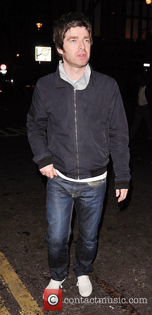 Noel Gallagher leaving the private members' club Soho...