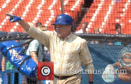 Filming a scene at Shea Stadium for the...