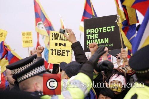 Free Tibet Protest at The Beijing 2008 Olympic...