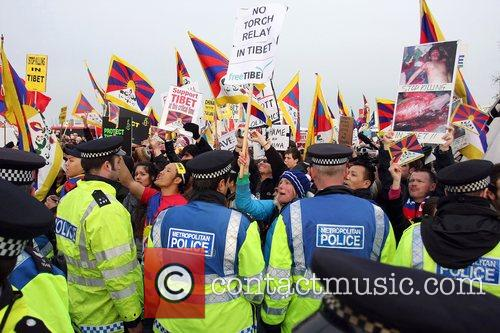 Free Tibet Protest At The Beijing 2008 Olympic Games Torch Relay 4