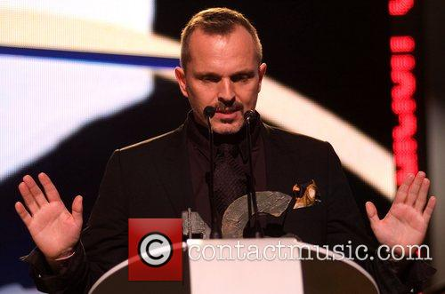 Miguel Bose  on stage at the Onda...