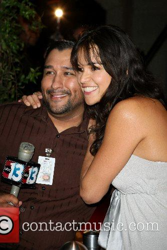 Michelle Rodriguez and reporter Diablo's Cantina Grand Opening...