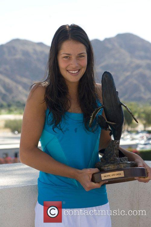 Ana Ivanovic (SRB) Poses with Her trophy at...