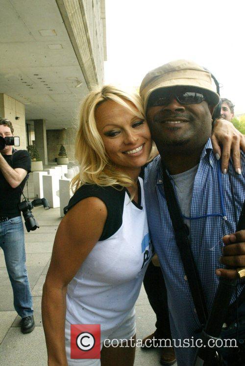 Pamela Anderson at a Peta protest