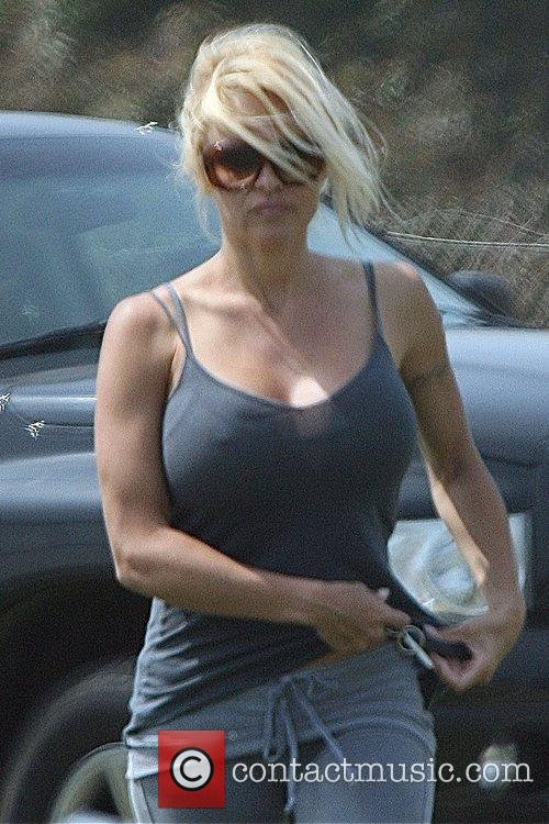 Pamela Anderson arrives at a baseball park, to...