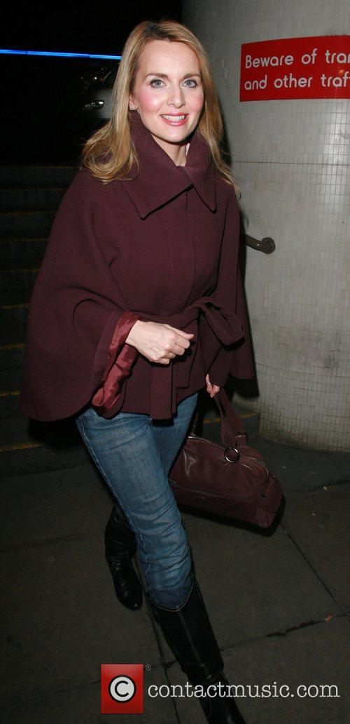 Debra Stephenson leaving the Theatre Royal after performing...