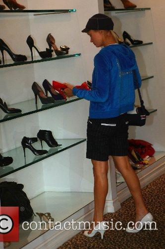 Paris Hilton shops for shoes on the trendy...