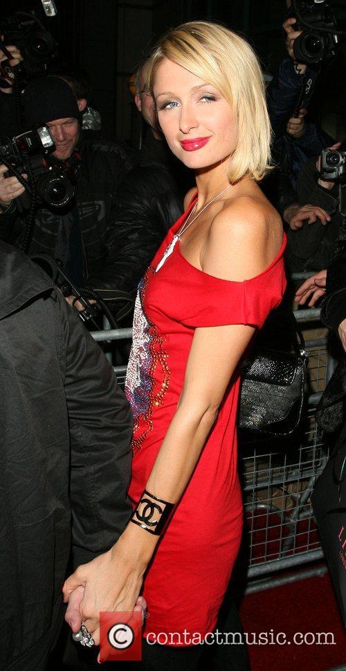 Paris Hilton leaving Crystal nightclub, where she had...