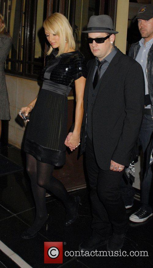 Paris Hilton and Benji Madden leaving the Dorchester...