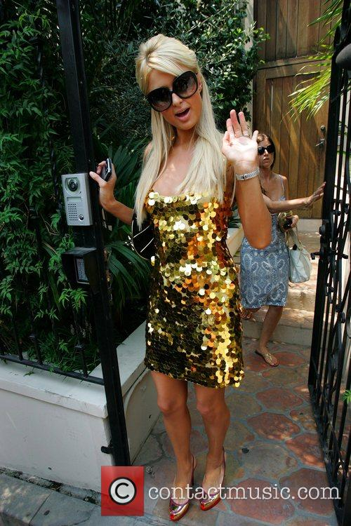 Paris Hilton leaving her home to promote her...