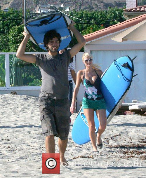 Paris Hilton with Adrian Grenier filming her new...