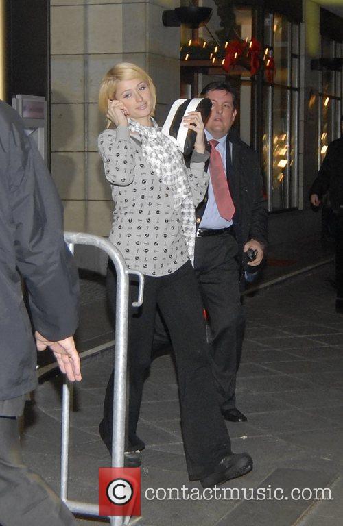 Paris Hilton leaving the Hilton Berlin hotel for...