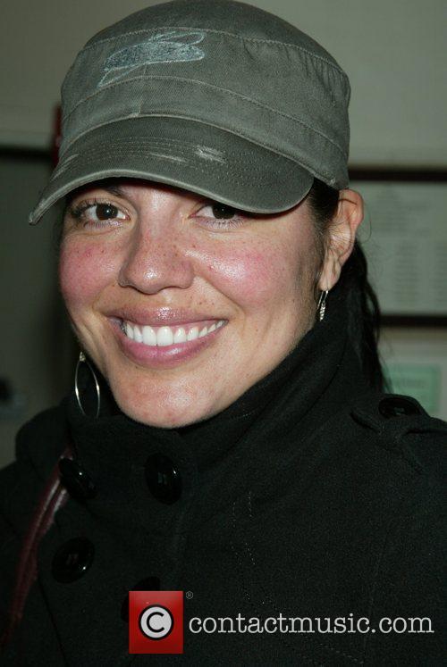 Sara Ramirez backstage at the Broadway musical Passing...