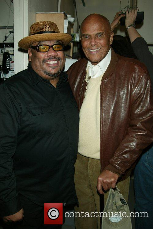 Stew and Harry Belafonte backstage at the Broadway...