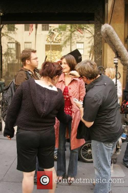 Michelle Monaghan prepares to film a scene for...