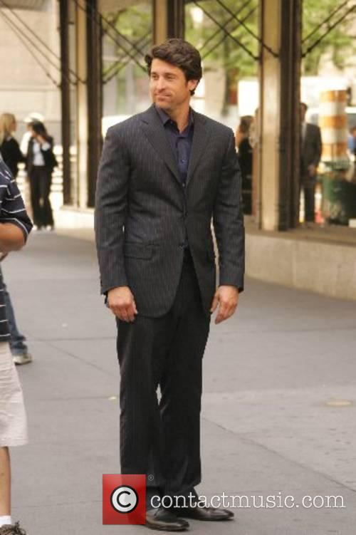 Patrick Dempsey filming a scene for his upcoming...