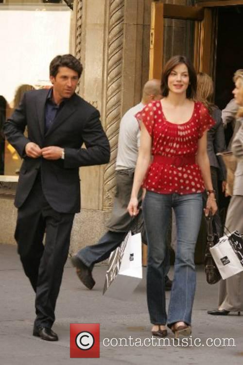 Patrick Dempsey and Michelle Monaghan filming a scene...