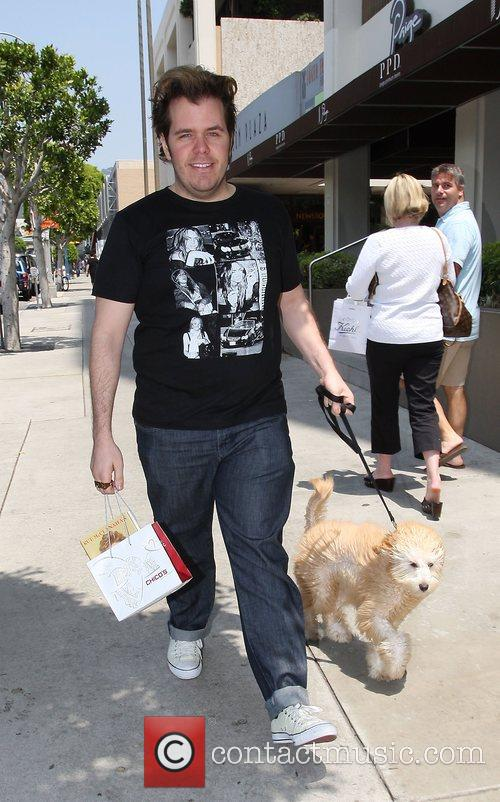 Perez Hilton walking his dog in West Hollywood
