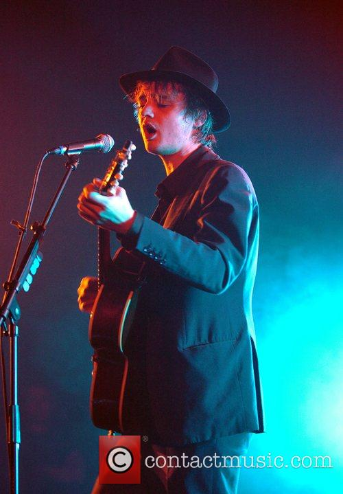 Pete Doherty performing live at the Manchester Academy...