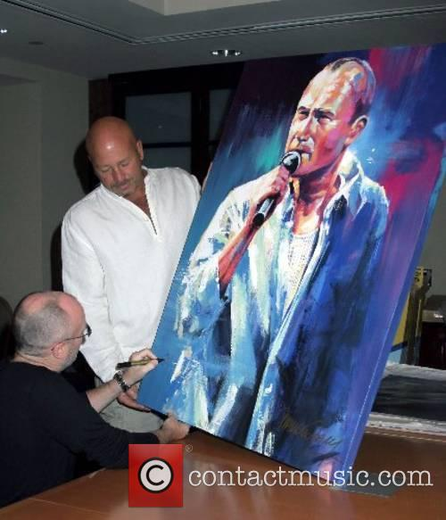 Phil Collins signing of Malcolm Farley's painting and...