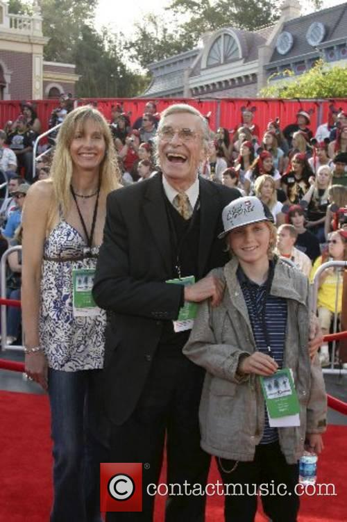 Martin Landau with his girlfriend and her son,...