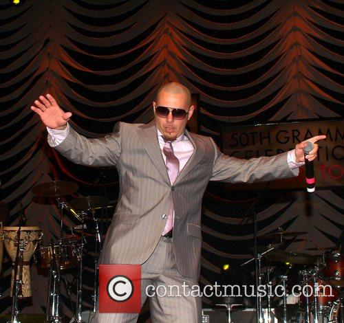 Grammy winner Pitbull performing at the 50th GRAMMY...