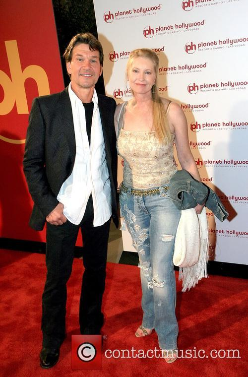 Patrick Swayze and Lisa Niemi photographed together at Planet Hollywood