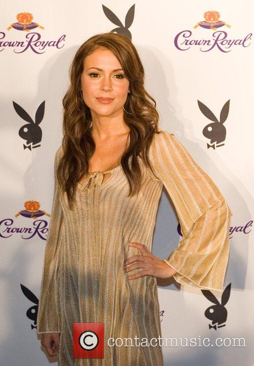 Alyssa Milano Crown Royal Playboy Lounge in celebration...