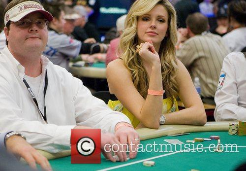 Shandi Finnessey plays a hand in the tournament...