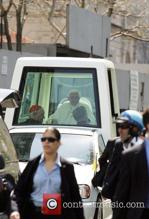 Pope Benedict XVI riding up Fifth Avenue after...