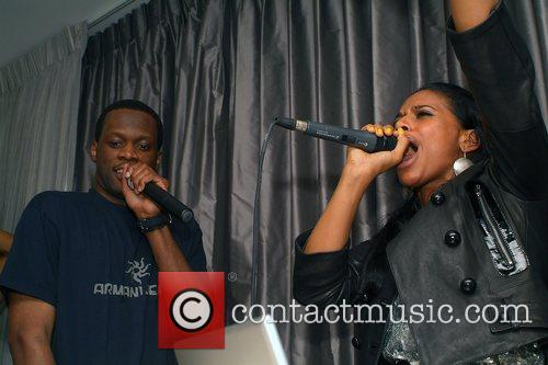 Pras Michel (Fugees) and Iman performing at the...