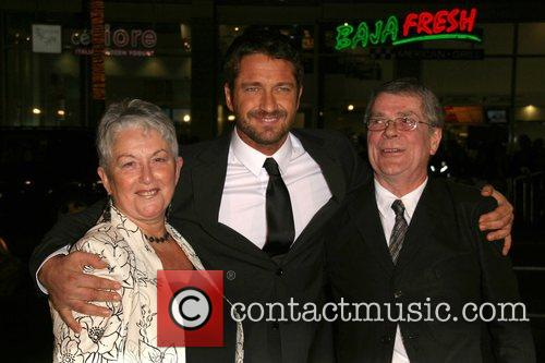 Gerard Butler and parents Premiere of 'P.S. I...