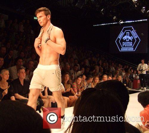 Catwalk Puma by Rudolf Dassler fashion show during...