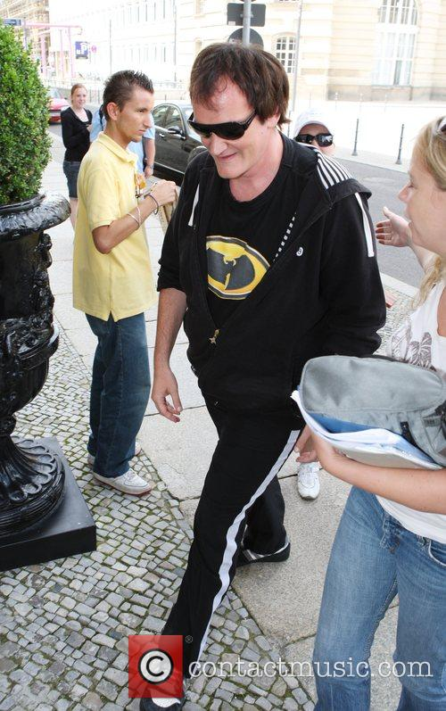 Quentin Tarantino arriving at the Hotel de Rome