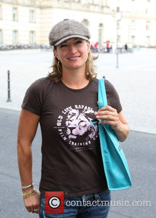 Zoe Bell arriving at the Hotel de Rome...